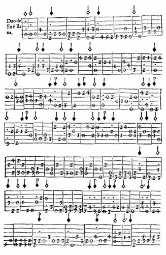 Leer una tablatura. Tablatura de Fuenllana. Fuente: vihuelagriffiths.com